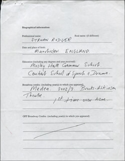 STRUAN RODGER - AUTOGRAPH DOCUMENT SIGNED IN TEXT