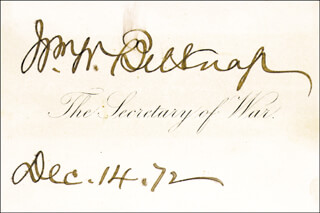 MAJOR GENERAL WILLIAM W. BELKNAP - CALLING CARD SIGNED 12/04/1872