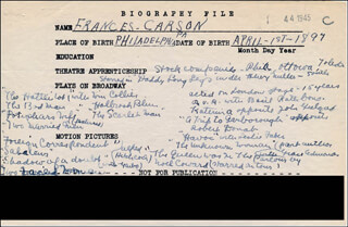 FRANCES CARSON - AUTOGRAPH DOCUMENT SIGNED IN TEXT