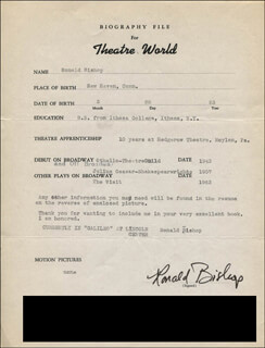 RONALD BISHOP - TYPED RESUME SIGNED