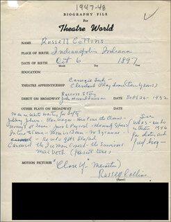 RUSSELL COLLINS - AUTOGRAPH RESUME SIGNED