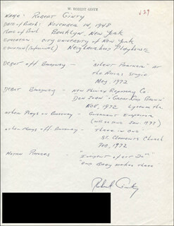ROBERT GINTY - AUTOGRAPH RESUME SIGNED