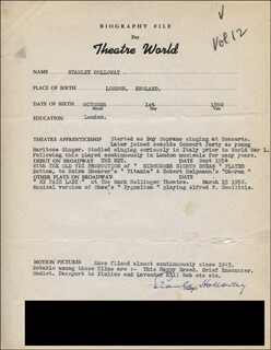 Autographs: STANLEY HOLLOWAY - TYPED RESUME SIGNED