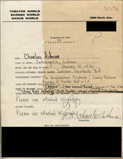 CHARLES AIDMAN - AUTOGRAPH RESUME SIGNED