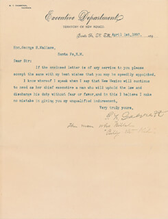 Autographs: PATRICK F. BIG CASINO GARRETT - TYPED LETTER SIGNED 04/01/1897