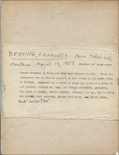 FRANCESCA BRUNING - AUTOGRAPH DOCUMENT SIGNED IN TEXT