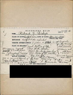 RICHARD S. BISHOP - AUTOGRAPH DOCUMENT SIGNED IN TEXT