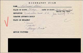 ROBINSON STONE - AUTOGRAPH DOCUMENT SIGNED IN TEXT