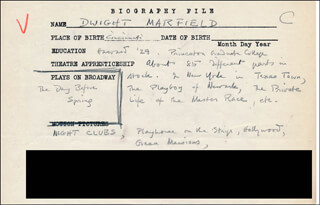 DWIGHT MARFIELD - AUTOGRAPH DOCUMENT SIGNED IN TEXT