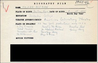 FRIEDA ALTMAN - AUTOGRAPH DOCUMENT SIGNED IN TEXT