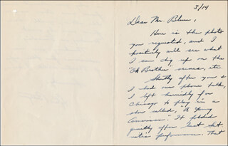 LYLE BETTGER - AUTOGRAPH LETTER SIGNED 03/14