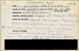GEORGE MATHEWS - AUTOGRAPH DOCUMENT SIGNED IN TEXT