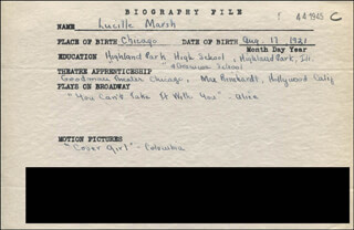 LUCILLE MARSH - AUTOGRAPH DOCUMENT SIGNED IN TEXT