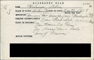 HELENA BLISS - AUTOGRAPH DOCUMENT SIGNED IN TEXT