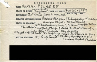 BERTHA BELMORE - AUTOGRAPH DOCUMENT SIGNED IN TEXT