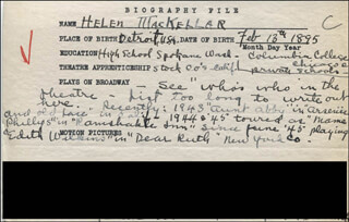 HELEN MACKELLAR - AUTOGRAPH DOCUMENT SIGNED IN TEXT