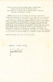 GENERAL OMAR N. BRADLEY - TYPESCRIPT SIGNED CIRCA 1941 CO-SIGNED BY: ADMIRAL H. KENT HEWITT, GENERAL JACOB L. DEVERS