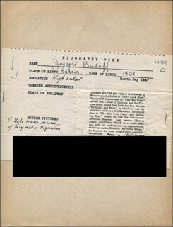 JOSEPH BULOFF - AUTOGRAPH DOCUMENT SIGNED IN TEXT