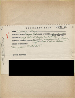 SYDNEY BOYD - AUTOGRAPH DOCUMENT SIGNED IN TEXT