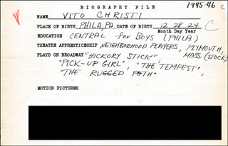 VITO CHRISTI - AUTOGRAPH DOCUMENT SIGNED IN TEXT