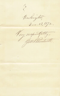 Autographs: GEORGE S. BOUTWELL - AUTOGRAPH SENTIMENT SIGNED 12/13/1872