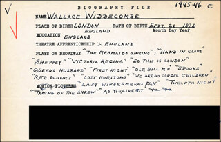 WALLACE WIDDECOMBE - AUTOGRAPH DOCUMENT SIGNED IN TEXT