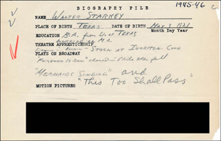 WALTER STARKEY - AUTOGRAPH DOCUMENT SIGNED IN TEXT