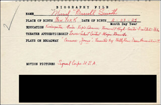 MURIEL SMITH - AUTOGRAPH DOCUMENT SIGNED IN TEXT
