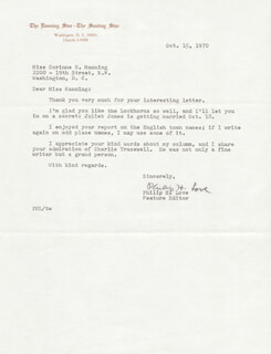 PHILIP H. LOVE - TYPED LETTER SIGNED 10/15/1970