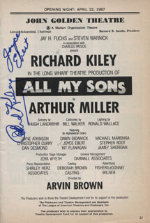 Autographs: ALL MY SONS PLAY CAST - SHOW BILL SIGNED CO-SIGNED BY: RICHARD KILEY, JOYCE EBERT