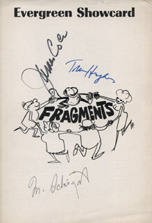 FRAGMENTS PLAY CAST - SHOW BILL COVER SIGNED CO-SIGNED BY: JAMES JIMMY COCO, TRESA HUGHES, MURRAY SCHISGAL