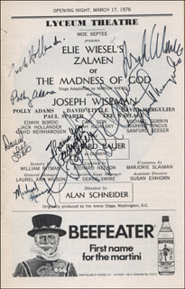 Autographs: ZALMEN OR THE MADNESS OF GOD PLAY CAST - SHOW BILL SIGNED CO-SIGNED BY: ELIE WIESEL, JOSEPH DR. NO WISEMAN, JACK HOLLANDER, MICHAEL HANEY, DAVID LITTLE, DAVID MARGULIES, POLLY ADAMS, RICHARD BAUER, LEE WALLACE