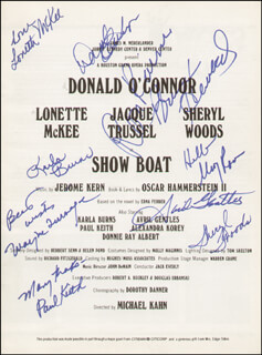 SHOW BOAT PLAY CAST - SHOW BILL SIGNED CO-SIGNED BY: DONALD O'CONNOR, AVRIL GENTLES, PAUL KEITH, RON RAINES, LONETTE MCKEE, KARLA BURNS, WAYNE TURNAGE, BRUCE A. HUBBARD, SHERYL WOODS, MARY ROCCO