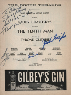 THE TENTH MAN PLAY CAST - INSCRIBED SHOW BILL SIGNED CO-SIGNED BY: LOU JACOBI, GENE SAKS, JACK GILFORD