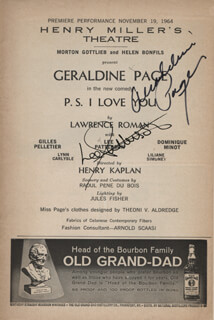 Autographs: P.S. I LOVE YOU PLAY CAST - SHOW BILL SIGNED CO-SIGNED BY: GERALDINE PAGE, LEE PATTERSON