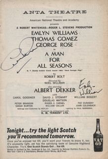 Autographs: A MAN FOR ALL SEASONS PLAY CAST - SHOW BILL SIGNED CO-SIGNED BY: GEORGE ROSE, EMLYN WILLIAMS