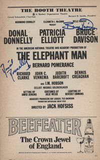 THE ELEPHANT MAN PLAY CAST - SHOW BILL SIGNED CO-SIGNED BY: BRUCE DAVISON, DONAL DONNELLY