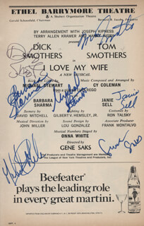 Autographs: I LOVE MY WIFE PLAY CAST - SHOW BILL SIGNED CO-SIGNED BY: SMOTHERS BROTHERS (DICK SMOTHERS), THE SMOTHERS BROTHERS , GENE SAKS, SMOTHERS BROTHERS (TOM SMOTHERS), JANIE SELL, MICHAEL STEWART, BARBARA SHARMA, MICHAEL MARK
