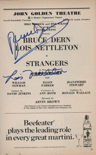 STRANGERS PLAY CAST - SHOW BILL SIGNED CO-SIGNED BY: BRUCE DERN, LOIS NETTLETON