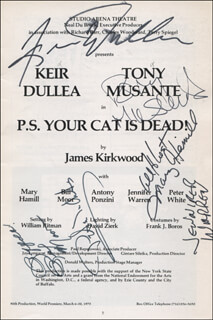 P.S. YOUR CAT IS DEAD! PLAY CAST - SHOW BILL SIGNED CO-SIGNED BY: KEIR DULLEA, JENNIFER WARREN, TONY MUSANTE, PETER WHITE, BILL MOOR, MARY HAMILL
