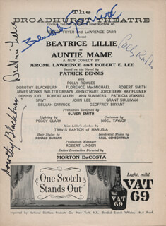 Autographs: AUNTIE MAME PLAY CAST - SHOW BILL SIGNED CO-SIGNED BY: BEATRICE LILLIE, BEULAH GARRICK, DOROTHY BLACKBURN, POLLY ROWLES