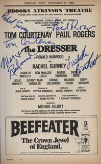 THE DRESSER PLAY CAST - SHOW BILL SIGNED CO-SIGNED BY: TOM COURTENAY, RACHEL GURNEY, PAUL ROGERS, MARGE REDMOND, LISABETH BARTLETT