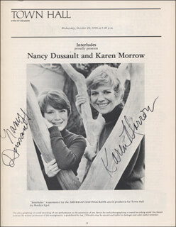 KAREN MORROW - PROGRAM SIGNED CIRCA 1976 CO-SIGNED BY: NANCY DUSSAULT