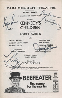 KENNEDY'S CHILDREN PLAY CAST - SHOW BILL SIGNED CO-SIGNED BY: SHIRLEY KNIGHT, KAIULANI LEE, BARBARA MONTGOMERY, DOUGLAS TRAVIS