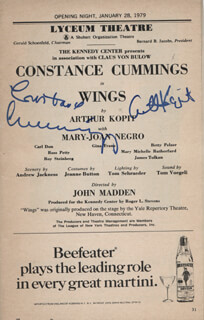 WINGS PLAY CAST - SHOW BILL SIGNED CO-SIGNED BY: CONSTANCE CUMMINGS, ARTHUR KOPIT