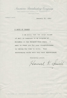 HOWARD K. SMITH - TYPED LETTER SIGNED 01/21/1963