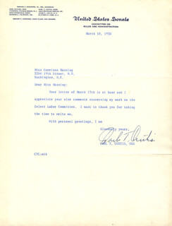 CARL T. CURTIS - TYPED LETTER SIGNED 03/18/1958
