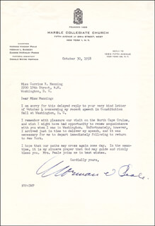 NORMAN VINCENT PEALE - TYPED LETTER SIGNED 10/30/1958