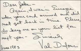 VAL DUFOUR - AUTOGRAPH NOTE SIGNED 06/1983