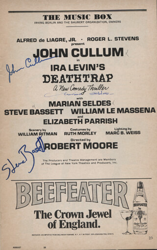 DEATHTRAP PLAY CAST - SHOW BILL SIGNED CO-SIGNED BY: JOHN CULLUM, STEVE BASSETT, MARIAN SELDES